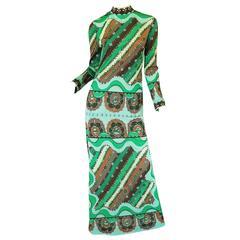 1970s Green Print Emilio Pucci Silk Jersey Dress