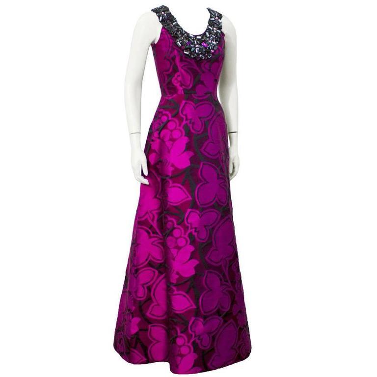 2007 Oscar De La Renta Purple Tone Gown with Jewel Collar For Sale ...