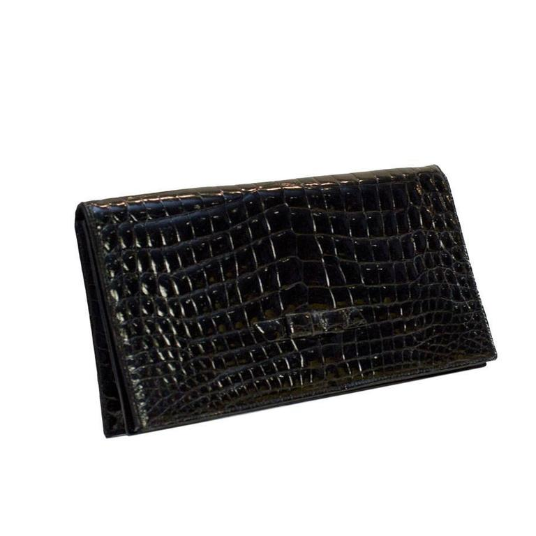 1950's Lucille de Paris Black Croc Evening Clutch