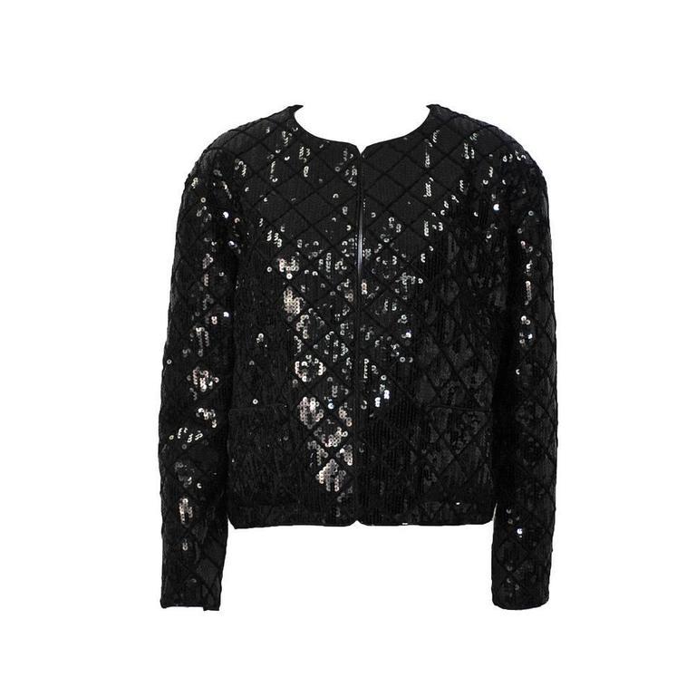 1990's Chanel Black Sequin Matrasse Jacket  1
