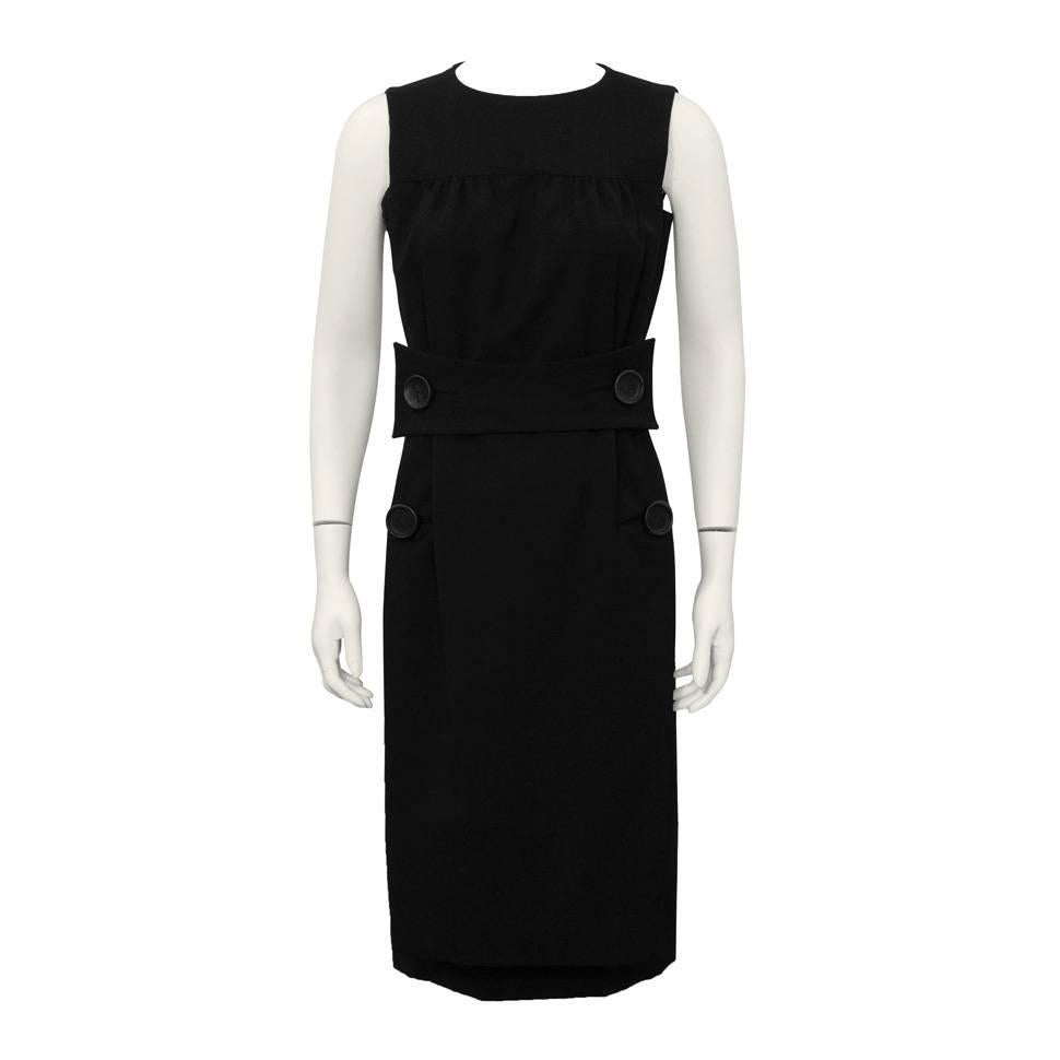 1960's Galanos Black Cocktail Dress with Leather Buttons