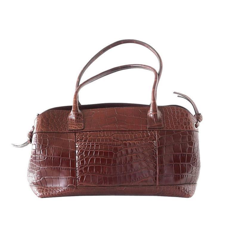 Brunello Cucinelli Bag Luxurious Rich Bronzed Brown Crocodile Tote