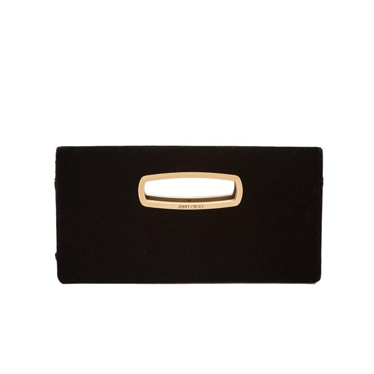 Jimmy Choo Black Velvet Clutch  For Sale