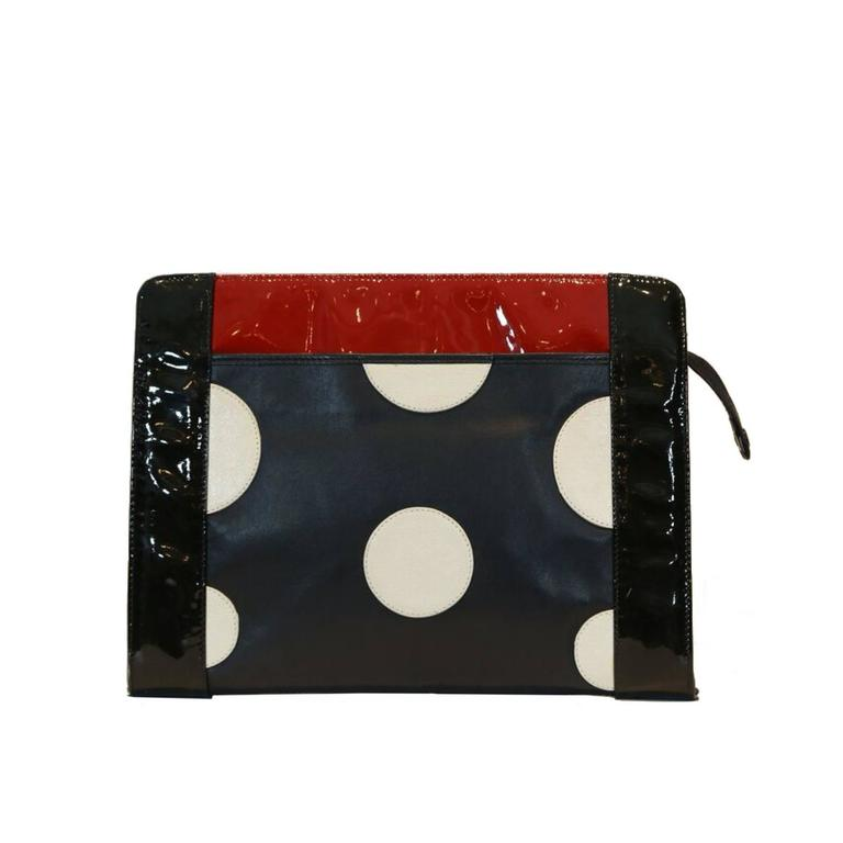 Fendi Black, Red, and White Polka Dot Clutch  1