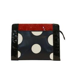 Fendi Black, Red, and White Polka Dot Clutch
