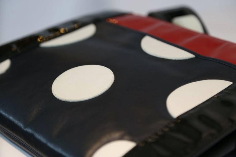 Fendi Black, Red, and White Polka Dot Clutch  2