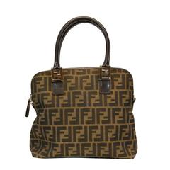 Fendi Brown Leather Handbag with Gold Embossing