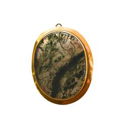 Victorian Moss Agate Gold Filled Pendant/ Brooch