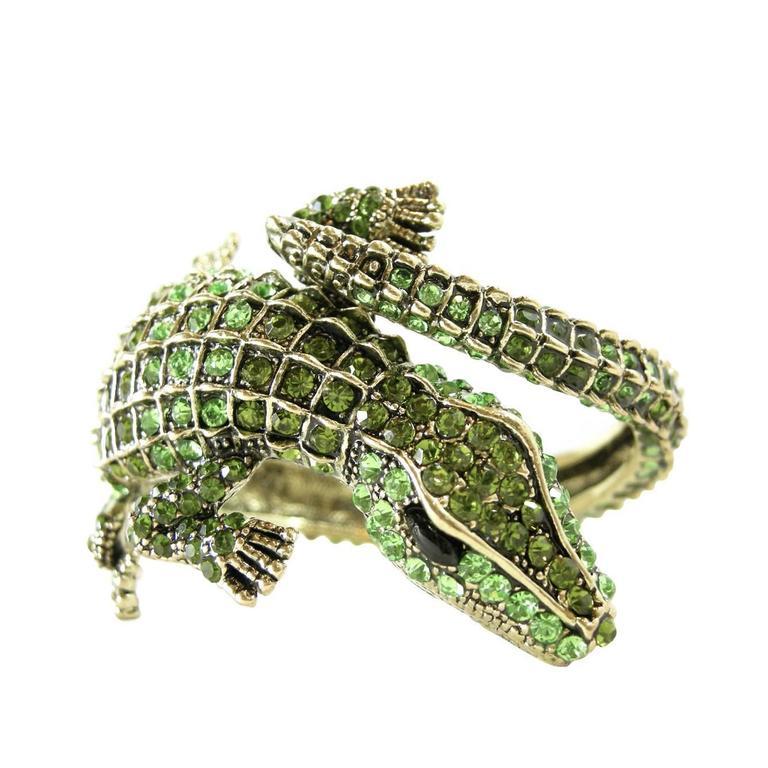 Signed Kenneth J Lane Alligator Rhinestone Cuff Bracelet 1