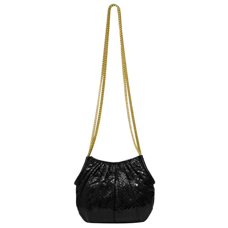 1980s Judith Leiber Black Lizard Bag