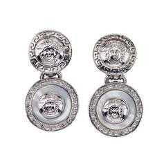 Gianni Versace Mother of Pearl and Silver Dangling Earrings With Medusa