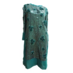 Valentino Emerald Green Sequin Beaded Dress Size 8