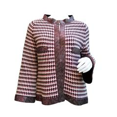 Chanel Cashmere Sweater Jacket Rhinestone Crystal Borders Size 36