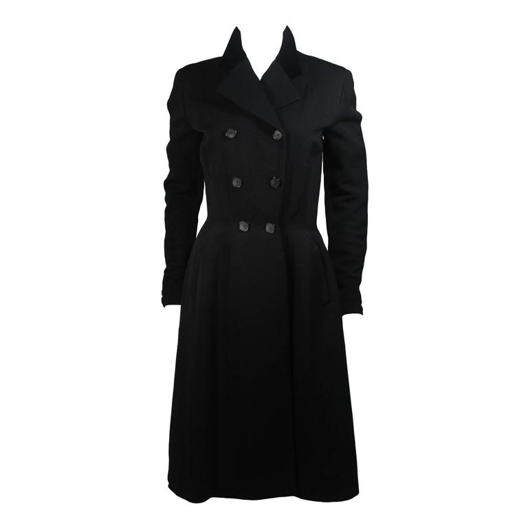 Hardy Amies Black Wool Coat with Velvet Trim Size Small
