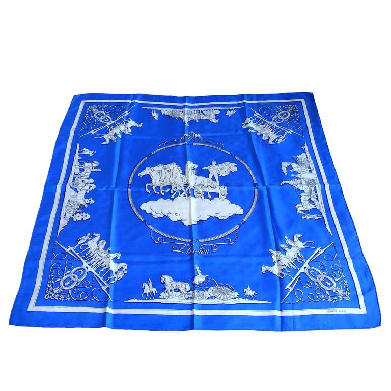 "Hermes Collectable Rare Vintage Silk Scarf Carre ""Phaeton"" by Ledoux"