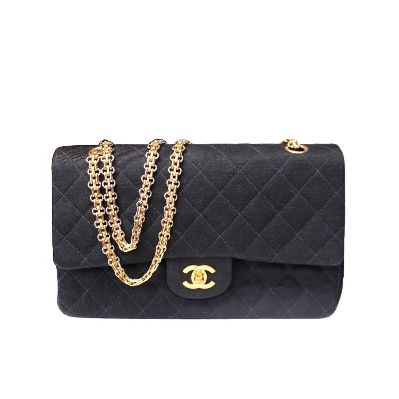6768099c73e9 Chanel Timeless Medium Black Jersey Double Flap Bag at 1stdibs