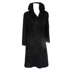 Black swakara persian lamb Astrakhan fur coat