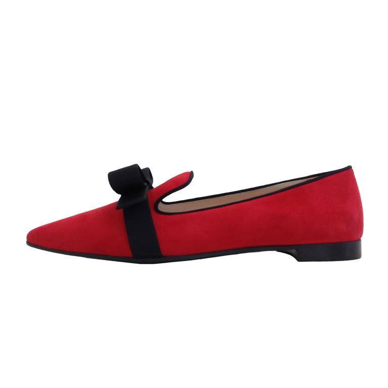 Prada Red Suede Smoking Flats Size 37.5 (7) at 1stdibs