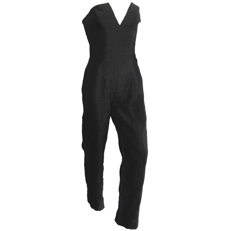 1990s CHRISTIAN LACROIX Black Raw Silk Strapless Jumpsuit