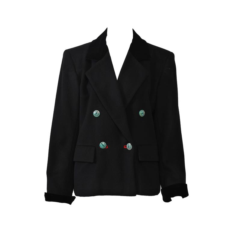 Saint Laurent Black 1980s Jacket