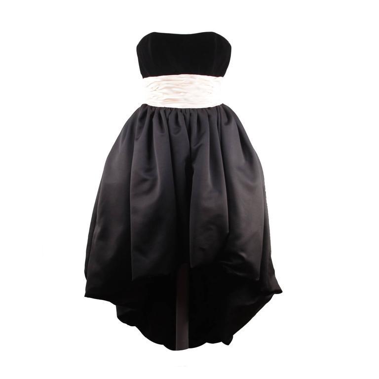 VICTOR COSTA Vintage Black & Pink BUSTIER PROM DRESS w/ Dip Hem SIZE 8 US 1