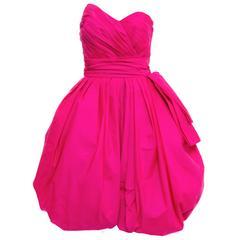 Victor Costa Fluorescent Pink Strapless Taffeta Bubble Party Dress, Circa 1980's