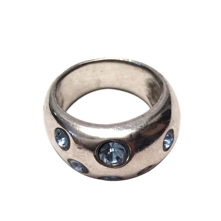 Yves Saint Laurent / YSL Ring - Sterling Silver with Swarovski Crystals