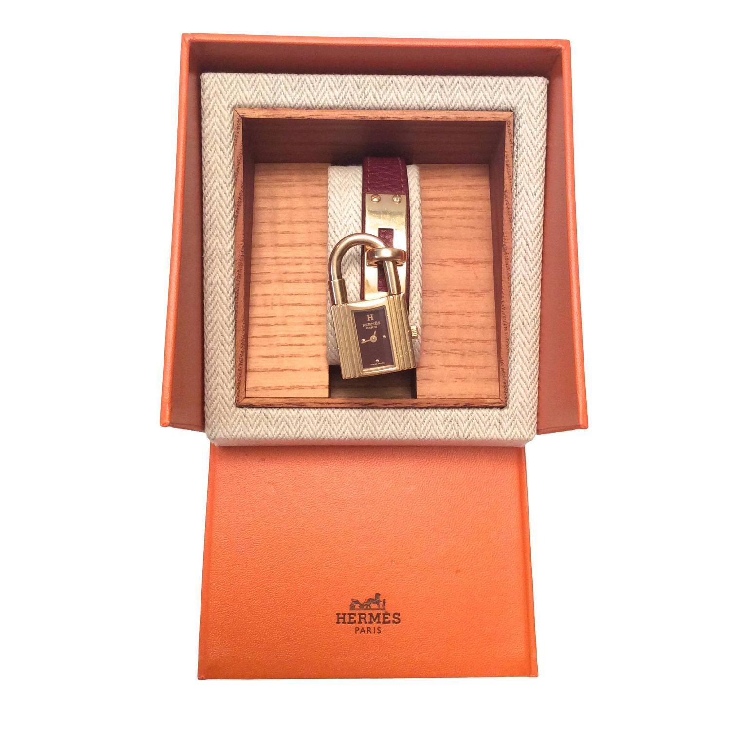 Hermes Kelly Watch - Gold Tone - Burgundy with Matching Strap For ...