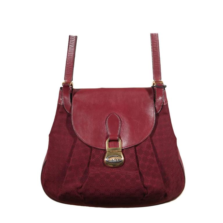 gucci vintage burgundy gg monogram canvas and leather shoulder bag for sale at 1stdibs