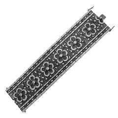 CZ & Silver Plated Rhodium Articulated Floral Bracelet