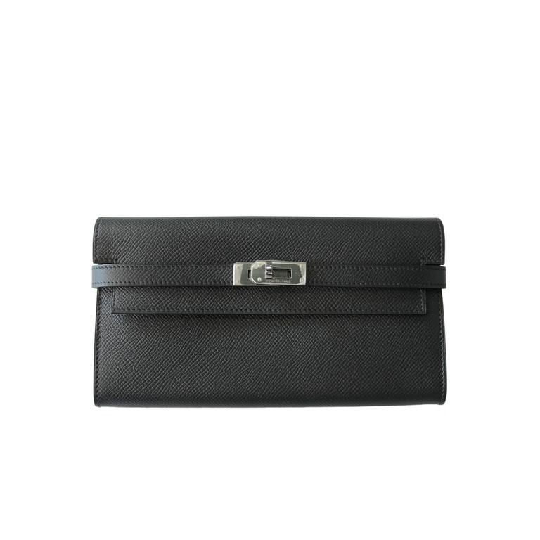 f0a548b23ccb Hermes Black Epsom Kelly Long Wallet SHW