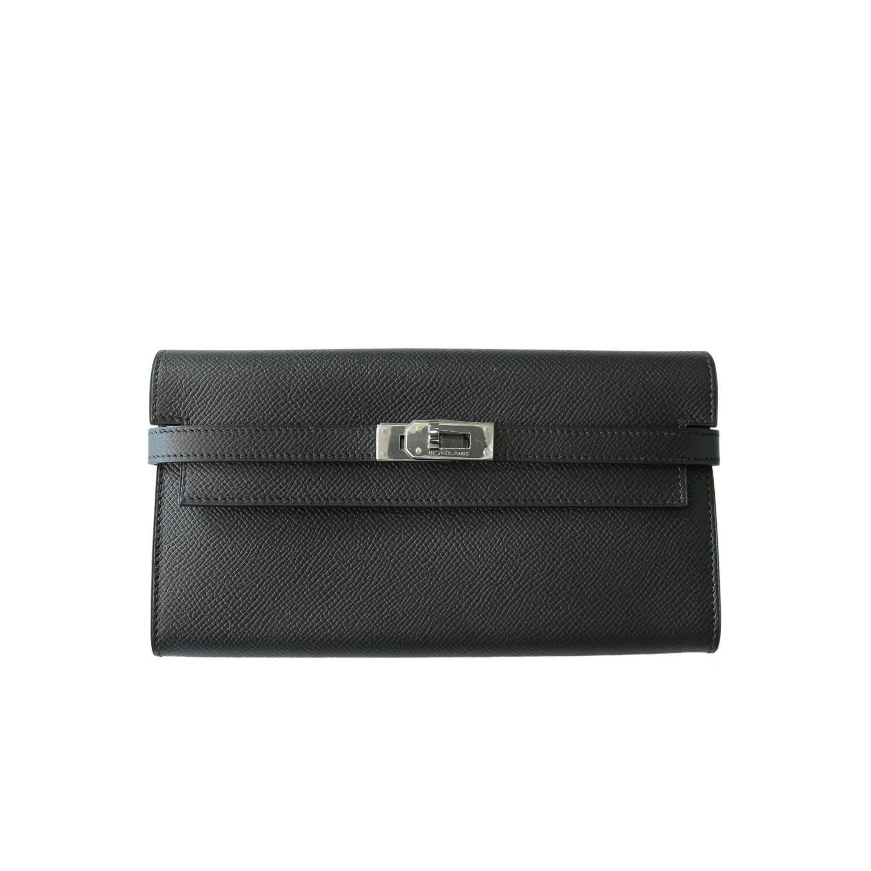 5c400dc22a4c Hermes Black Epsom Kelly Long Wallet SHW