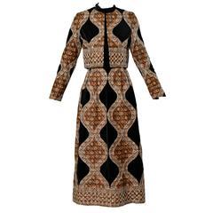 1970s Vintage Quilted Velvet Jacket + Maxi Dress 2-Piece Ensemble