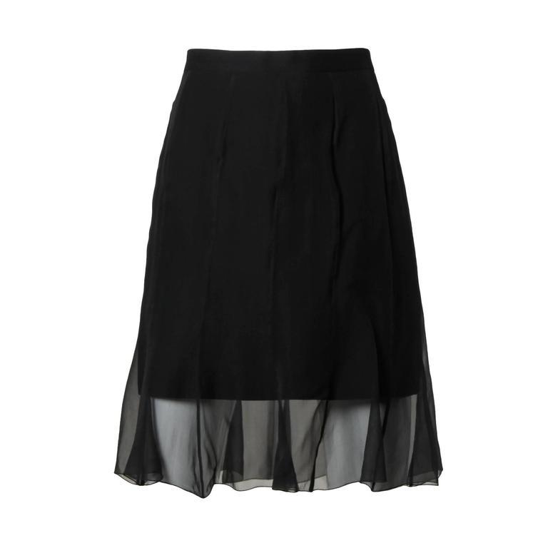 Karl Lagerfeld Vintage Black Skirt with Sheer Mesh Overlay For Sale