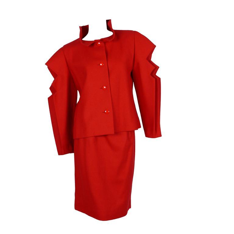 Pierre Cardin Prestige Vintage Stunning Red Skirt Suit