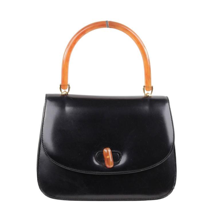 db49098b12 GUCCI Italian VINTAGE Black Leather HANDBAG Flap Purse w  BAKELITE HANDLE  Rare For Sale