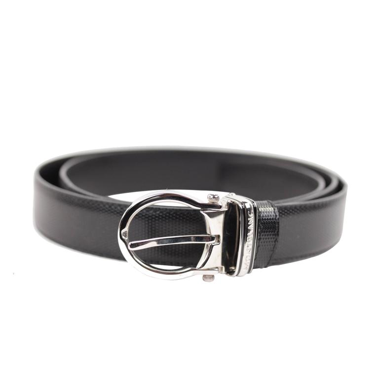 MONTBLANC Black Leather MEISTERSTUCK Men BELT w/ Silver Metal BUCKLE w/ BOX 1
