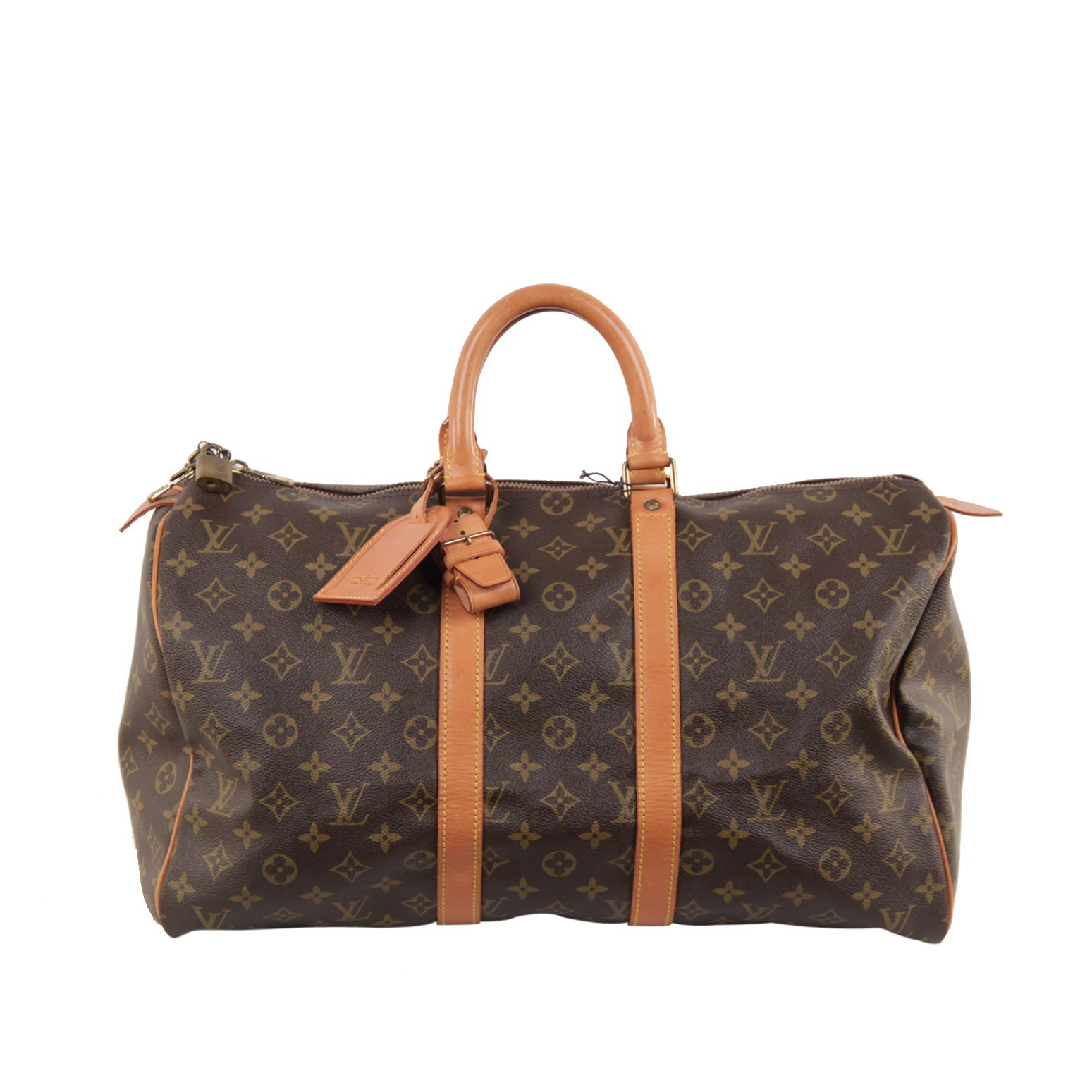 d8934f2229d0 LOUIS VUITTON Vintage Brown Monogram Canvas KEEPALL 45 Duffle Bag TRAVEL at  1stdibs