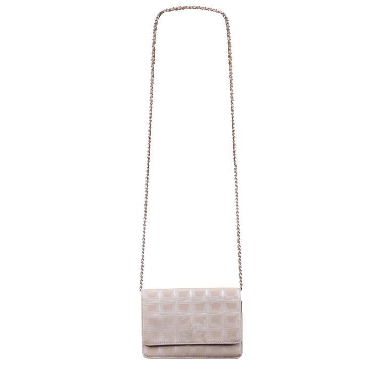 af7fb71810eb9c CHANEL Beige TRAVEL LINE Canvas CROSSBODY BAG Wallet On Chain WOC Flap  Purse For Sale