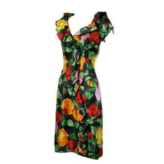 1960s Vintage Floral Print Formal Silk Cocktail Sheath Dress