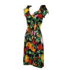 1960s Vintage Floral Print Formal Silk Cocktail Sheath Dress