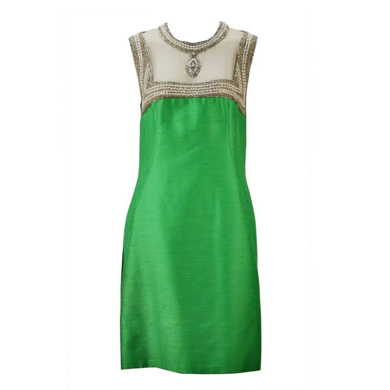 1960s Mr. Blackwell Custom Green Silk 2 Piece Dress and Jacket Ensemble