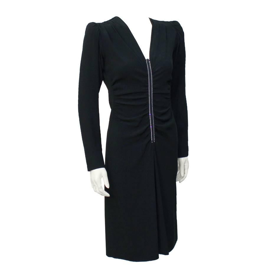 1980's Yves Saint Laurent YSL Black Silk and Rhinestone Dress
