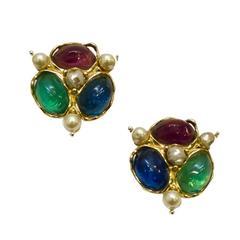 1980s Yves Saint Laurent YSL Multi-Color Cluster Earrings