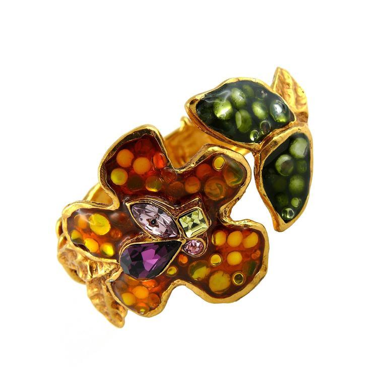christian lacroix vintage jewelled enamel floral clamper bracelet at 1stdibs. Black Bedroom Furniture Sets. Home Design Ideas