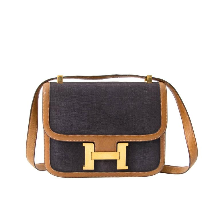 3cb6b244e09e Hermes Constance Leather Canvas at 1stdibs