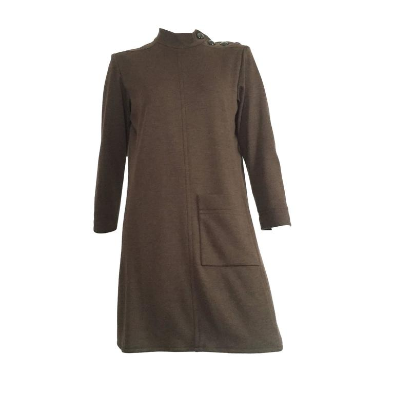 Yves Saint Laurent Rive Gauche Size 6 - 8 Cashmere Olive MOD Dress, 1990s