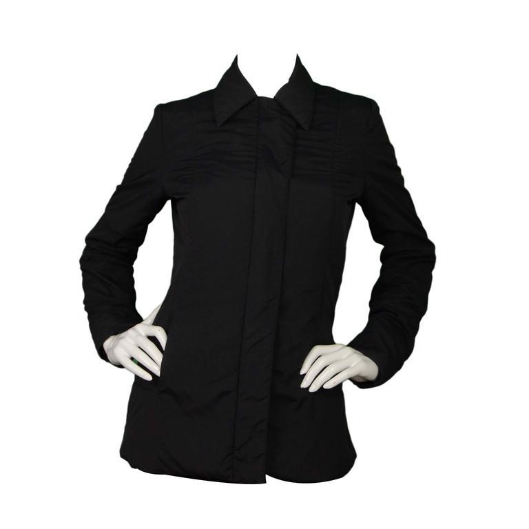 Gucci Black Rain Jacket & Removable Fur Vest sz 38 For Sale