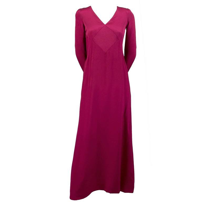 Berry Red Oscar de la Renta Vintage Dress Silk Jersey 1990s Saks Fifth Avenue