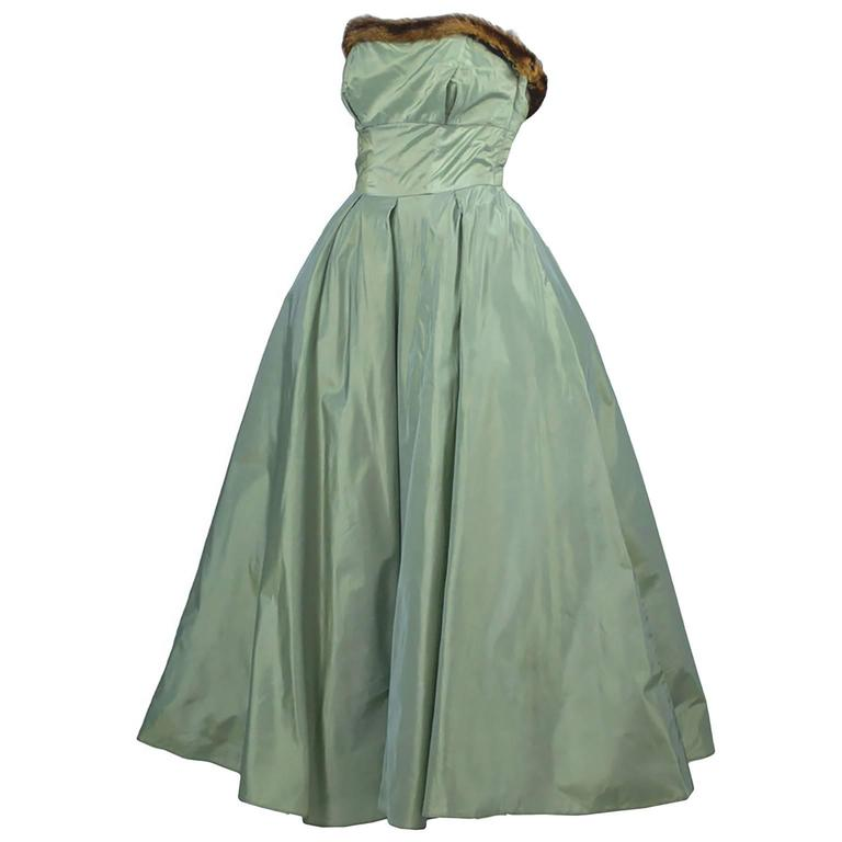 Doops Vintage 1950s 2 Pc Party Dress Bolero Mink Trimmed Sage Green Satin For Sale